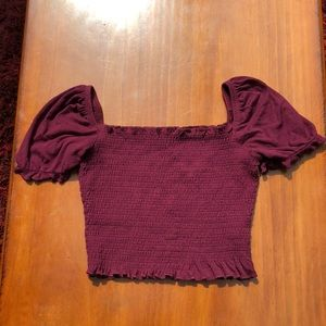 Purple Garage Puff Sleeve Cropped Top